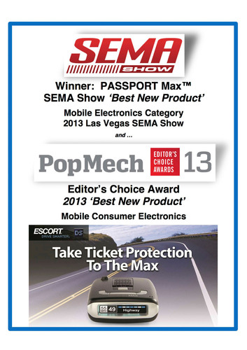 "SEMA ""Best Radar Detector"" Winner. (PRNewsFoto/ESCORT Inc.) (PRNewsFoto/ESCORT INC.)"