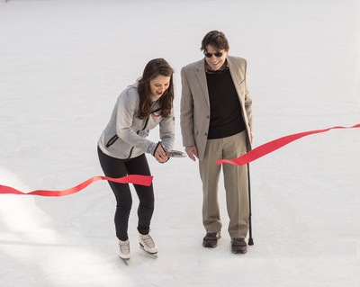 Olympic Figure Skater Sasha Cohen cuts the ribbon to open The Rink at Rockefeller Center with famed ballet choreographer Edward Villella, October 11, 2016. Both participated in the  opening ceremony of The Rink, a world famous attraction that is celebrating its 80th anniversary season.