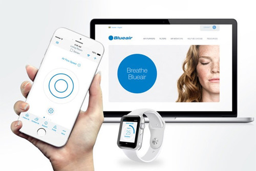 Blueair's Cloud-based Wi-Fi connected air quality monitoring devices, including the Aware AQ monitor and Blueair Friend app that can be installed on all Android and Apple mobile devices including the Apple watch, connect wirelessly to a Blueair indoor air purifier to adjust its performance in line with indoor air pollution levels. (PRNewsFoto/Blueair) (PRNewsFoto/Blueair)