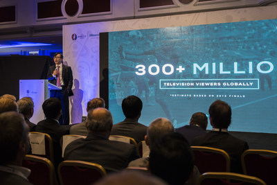 Hisense Group global vice president Lin Lan giving a speech