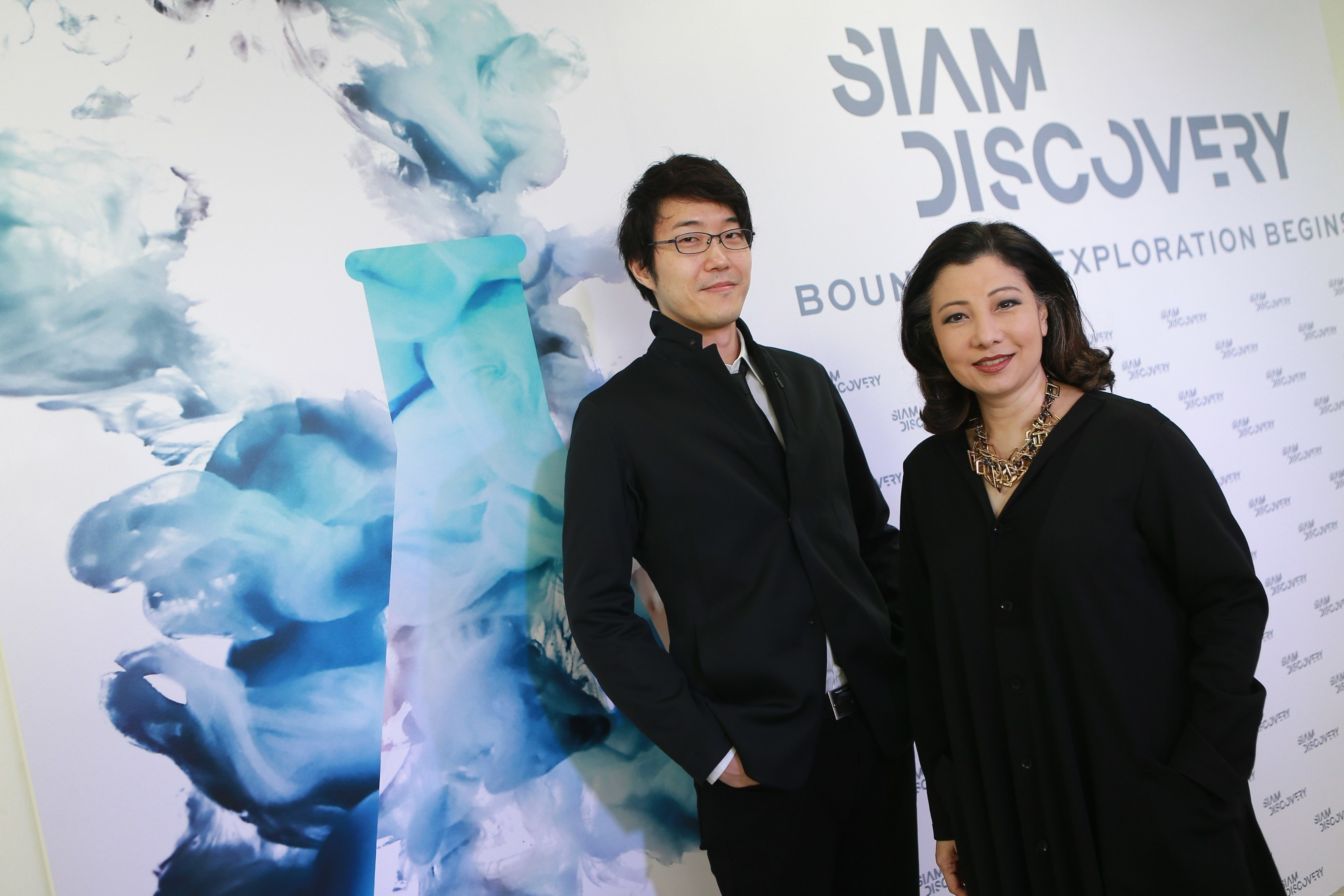 Mrs. Chadatip Chutrakul (right), CEO of Siam Piwat Co. Ltd., together with Mr. Oki Sato (left), Chief Designer ...