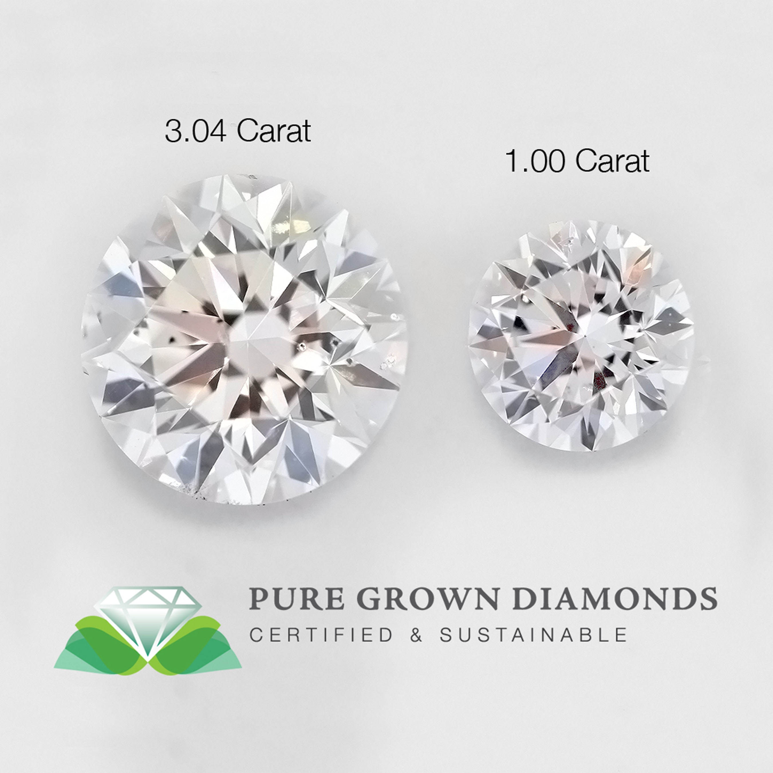 Pure Grown Diamonds announces scientific breakthrough with unveiling of world's largest laboratory-cultivated pure white diamond, indistinguishable from mined diamond, even under microscope, yet costs 30 to 40 percent less -- just in time for holidays. First-ever, largest lab-grown diamond is 3.04 carats shown here in comparison to 1.0 carat stone at showroom on Manhattan's Jewelry Row.