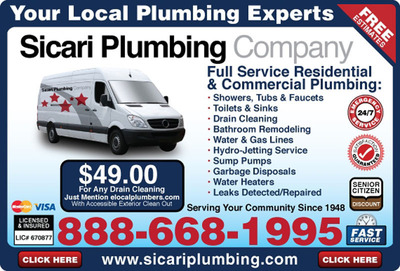 Sicari Plumbing is now offering their simple flat rate plumbing services that takes the mystery out of plumber's bills in Studio City, Burbank, Valencia, Canyon Country, North Hollywood and all areas of Los Angeles. More information available online at http://www.sicariplumbing.com.  (PRNewsFoto/Sicari Plumbing)