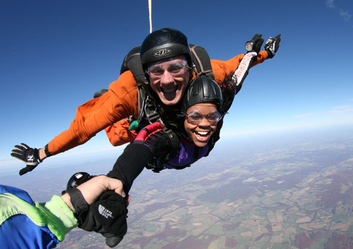 The life-changing sport of skydiving is more popular than ever! Visit www.uspa.org to find a skydiving center near you!.  (PRNewsFoto/U.S. Parachute Association, C. Lambert)