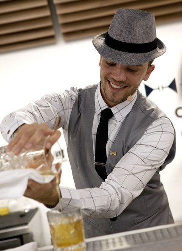 Andrej Malic, 27 of Celebrity Cruises creating the Old Timer cocktail featuring Bulleit Bourbon during the ...