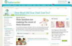 BabyCenter.com released its 2012 U.S. Cost of Raising a Child report.  (PRNewsFoto/BabyCenter(R) LLC)