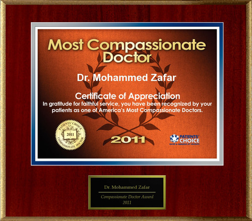 Dr. Mohammed Zafar of Kalamazoo, MI is Honored as a Compassionate Doctor