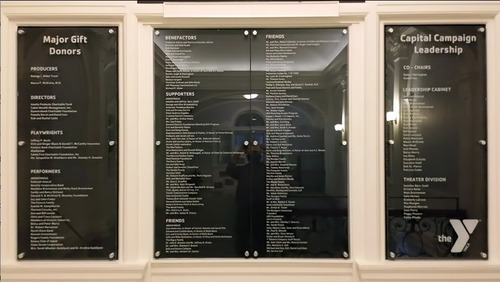 Glass donor plaques (PRNewsFoto/Impact Architectural Signs)