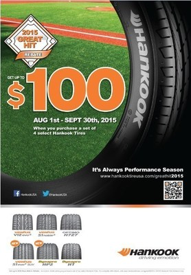 The Hankook Tire 2015 'Great Hit' mail-in rebate program runs August 1st through September 30th, 2015.