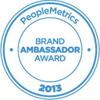 2013 Brand Ambassador Award.  (PRNewsFoto/PeopleMetrics)