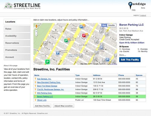 ParkEdge(TM) Locations Tab for Adding, Claiming and Managing Parking Locations.  (PRNewsFoto/Streetline, Inc.)