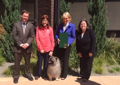 AKC Staffers Keith Frazier, Penny Leigh, Sheila Goffe and Jennifer Clark with Uther the Keeshond at the AKC Responsible Dog Ownership Day Proclamation.