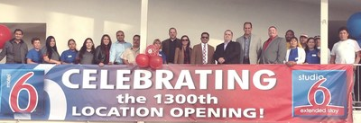 The 1,300th Motel 6 in Bakersfield, CA opening group photo including property team members, G6 Hospitality and the Franchisee, Harshad Patel. Pictured Left to Right: Manny Patel, Maria Hernandez, Gloria Rodriguez, Blanca Montoya, Angelica Vega, Nick Patel (GM), Mario Esparaza, Maria Villegas, Curt Eiffert, Renee Swoger, Harshad Patel (Owner), Dustin Martin, Gabe Borquez, Loyal Gonzales, Mauricio, Veronica Angel, Cesar, Leticia Huerta, Gustavo Rodriguez, Hugo Lopez.