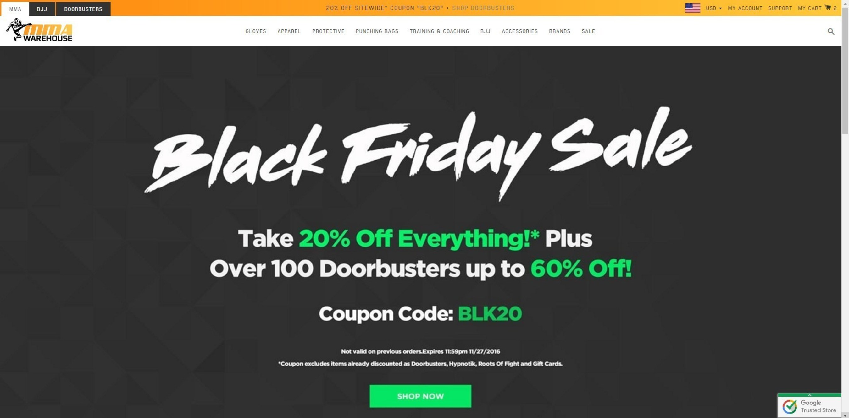 Screenshot of MMAWarehouse.com Black Friday sale homepage