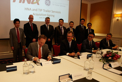 HNA and TIP Trailer Services Acquisition Signing.  (PRNewsFoto/Bravia Capital)