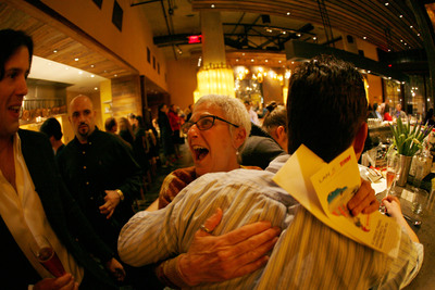 LAN Airlines has just surprised patrons of Bay Area restaurant Bocanova with tickets to South America. The event is part of the airline's Only in South America campaign, which aims to position South America as a must visit destination with US travelers. Photo: LAN Airlines www.lan.com @LANAirlinesUSA. (PRNewsFoto/LAN Airlines) (PRNewsFoto/LAN AIRLINES)