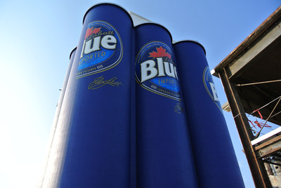 Labatt Blue transforms former grain silos in its hometown of Buffalo, NY into what could be the world's largest six-pack of beer (PRNewsFoto/Labatt USA)