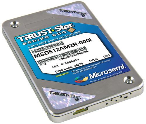 Microsemi's 256GB, 200MB/s TRRUST-Stor Series 200 Secure SSD.  (PRNewsFoto/Microsemi Corporation)