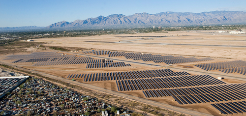 SunEdison Interconnects 16.4 Megawatt Solar Power Plant for Davis-Monthan Air Force Base.  Photo Credit: ...