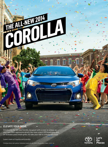 The marketing campaign for the 2014 Toyota Corolla showcases the vehicle's elevated styling and technology.  ...