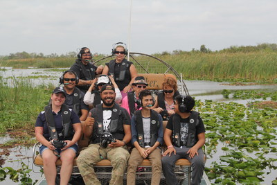Wounded veterans enjoy airboat tour.