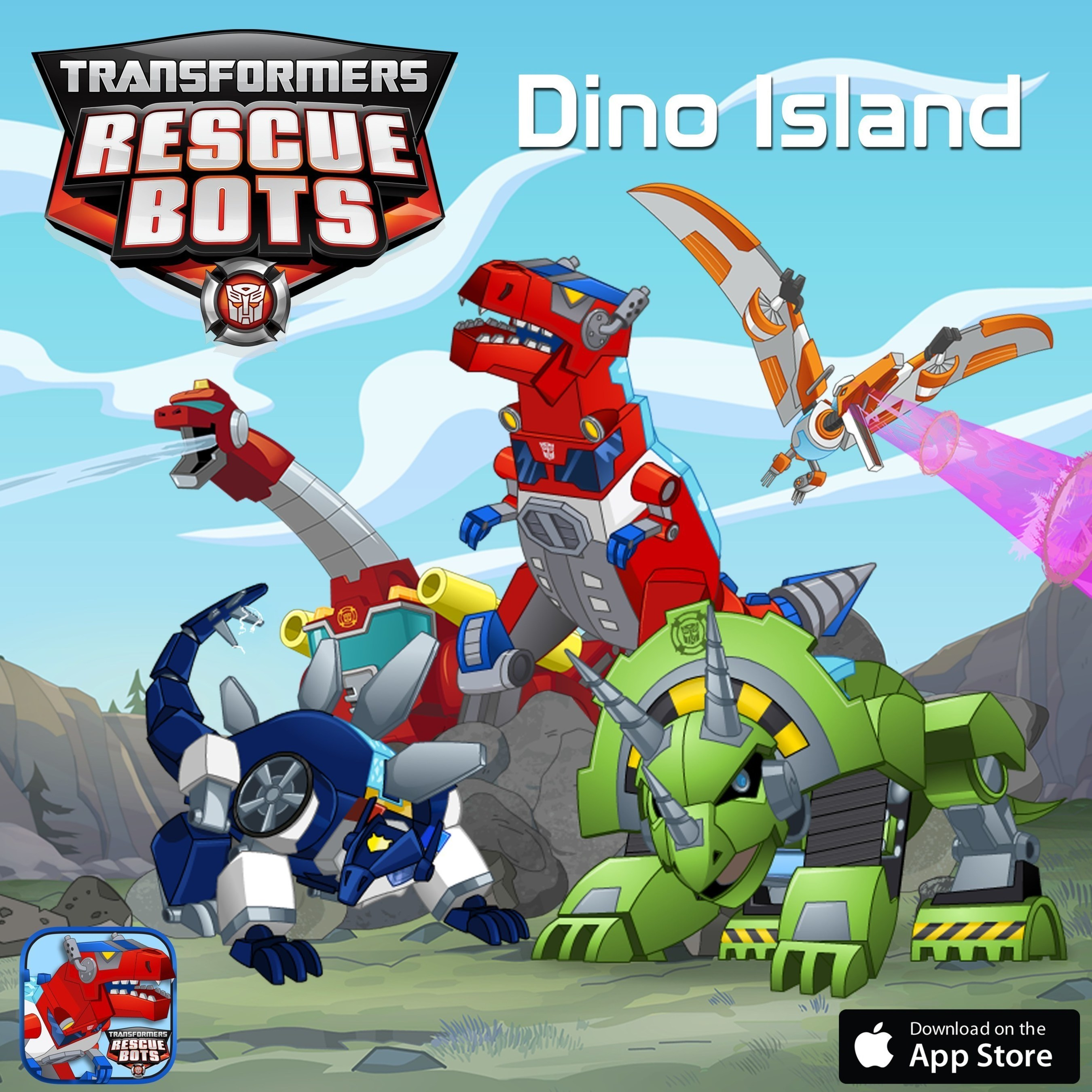 TRANSFORMERS RESCUE BOTS Roar to the Rescue in Hasbro and PlayDate Digital's New 'DINO ISLAND'