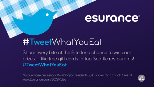 The Tweet What You Eat Sweepstakes encourages festival-goers to celebrate Seattle cuisine and share photos of their favorite food at Bite of Seattle. To enter the sweeps, attendees are asked to tweet their favorite dishes from the Bite and include either @esurance or #tweetwhatyoueat.  (PRNewsFoto/Esurance)
