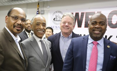 Panasonic joins Newark Mayor Ras J. Baraka and National Action Network to launch NAN-Newark Tech World. From left to right: NAN NJ State Director Rev. David Jefferson, NAN Founder and President Rev. Al Sharpton, Panasonic Corporation of North America Chairman & CEO Joseph M. Taylor and Newark Mayor Ras J. Baraka
