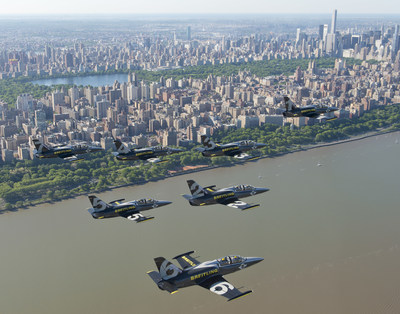 The Breitling Jet Team fly in formation over Central Park in New York City. The Team, who represent the independent Swiss watch company Breitling, are embarking on their first-ever American Tour, comprised of nearly 20 air shows across the US and Canada. (Andy Wolfe/Breitling)