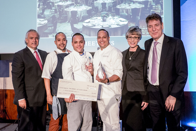 InterContinental(R) Hotels & Resorts presents $5000 check to Ultimate Culinary Clash first place student who partnered with the InterContinental(R) San Juan hotel's Executive Chef Efrain Cruz. From left to right:  Jean-Pierre Etcheberrigaray, vice president of IHG(R) Food & Beverage; Pablo, InterContinental San Juan sous chef; Victor Bonano Ortiz, Ultimate Culinary Clash 1st Place Winner; Efrain Cruz, executive chef at the InterContinental San Juan;  Debbie Grant...