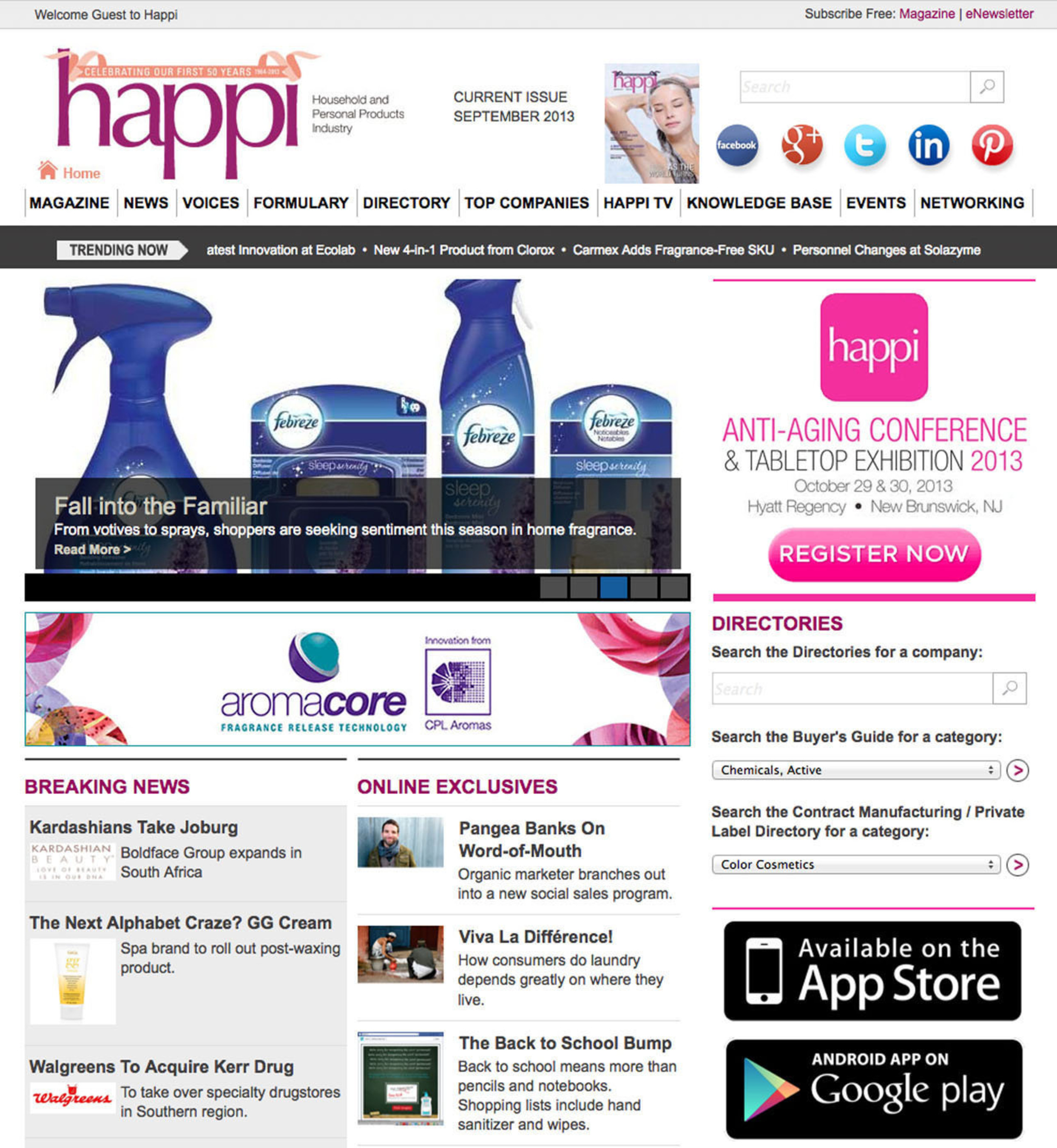 Happi magazine has launched its newly designed website, www.happi.com, featuring rich content, an easy-to-use Buyers' Guide, enhanced navigational tools and additional resources that will streamline access to a comprehensive archive of household and personal products industry news, information, analysis and opinion. (PRNewsFoto/HAPPI Magazine) (PRNewsFoto/HAPPI MAGAZINE)