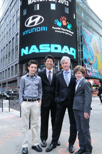 Hyundai Hope On Wheels Rings The NASDAQ Stock Market Closing Bell On Behalf Of Its Fight Against