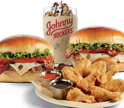 Limited Time Menu available now at participating Johnny Rockets.  Pepper Bacon Swiss Burger, Crispy Dippin' Wings, Pepper Bacon Swiss Chicken Sandwich and Candy Shake made with Snickers(R) Brand Peanut Butter Squared Pieces