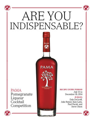"""PAMA Pomegranate Liqueur Announces Second Annual """"Are You Indispensable?"""" Cocktail Competition to Showcase Modifier's Limitless Versatility, July 15 to Dec. 30.  The competition is open exclusively to professional bartenders and mixologists who submit recipes via www.shakestir.com/PAMA.  Six finalists will compete in New York City for a Grand Prize of $5,000, a second place prize of $2,000 and a third place prize of $1,000. (PRNewsFoto/PAMA Pomegranate Liqueur)"""