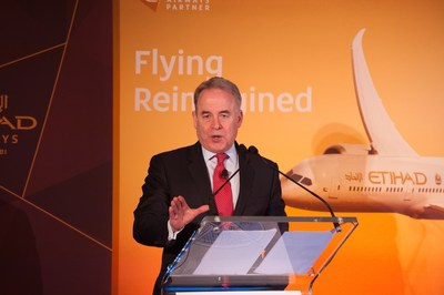 President and Chief Executive Officer of Etihad Airways, James Hogan, delivers the keynote address at the monthly Wings Club Luncheon at The Yale Club on April 21, 2016 in New York, NY.