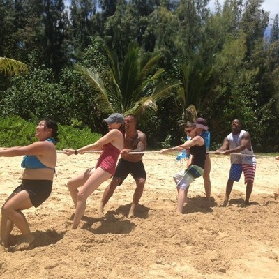 Warriors and family members participated in several competitive activities - including tug of war - at Kualoa Ranch's Secret Island.
