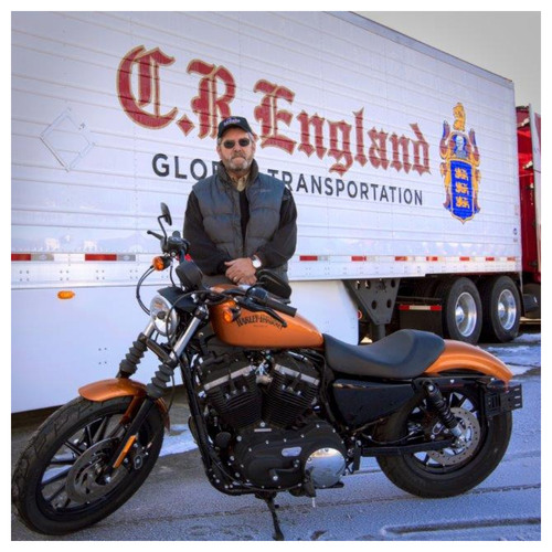 Gerry Blake and his 2014 Harley-Davidson Sportster Iron 883, presented by C.R. England as award in company ...