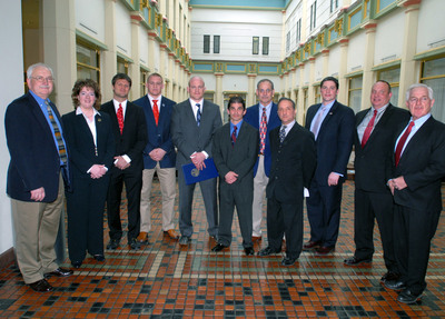 Pennsylvania Rep. Ron Miller, Rep. Michelle Brooks, Olympian Jake Herbert, Olympic Gold medalist and NCAA Champion Jake Varner, Olympic Gold Medalist and 4x NCAA Champion Cael Sanderson, Olympians Rob Eiter and Greg Strobel, unknown, Rep. Brandon Neuman, Rep. Greg Lucas, and Sen. Robert Robbins.  (PRNewsFoto/Committee to Preserve Olympic Wrestling)