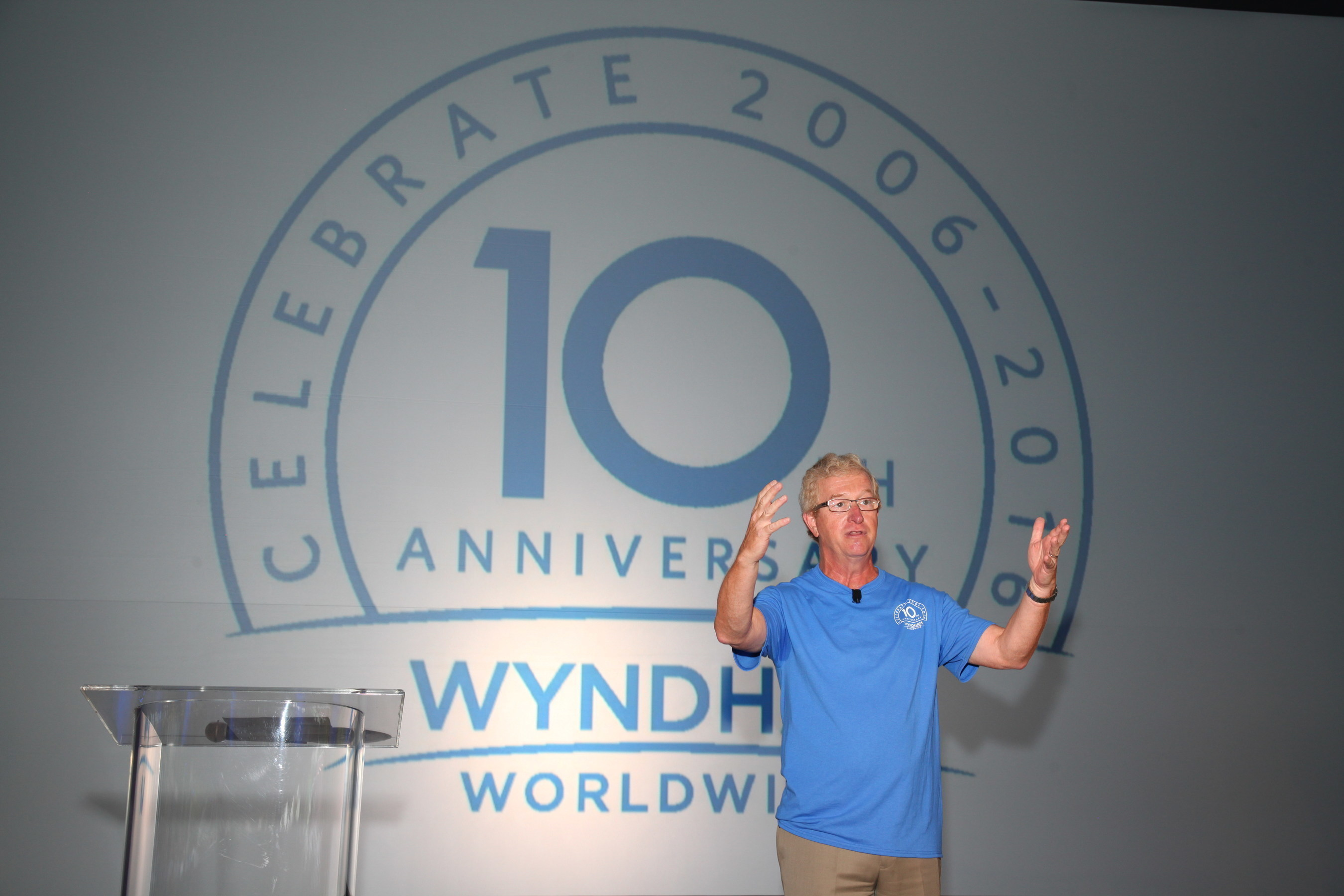 Wyndham Worldwide Chairman and Chief Executive Officer Stephen P. Holmes welcomes associates at a special 10 year anniversary celebration announcing its new global partnership with Save the Children at the company's global headquarters in Parsippany, NJ.
