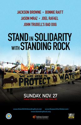 The Stand In Solidarity With Standing Rock benefit concert with Jackson Browne, BonnieRaitt, Jason Mraz, Joel Rafael and John Trudell'sBad Dog, Sunday, November 27, 2016 atPrairie Knights PavilioninFort Yates, ND.