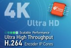 Alma Technologies announces the addition of three new Ultra High Throughput H.264 encoders to its UHT Image & Video Compression IP product line. This new family of scalable H.264 encoders offers progressively increasing levels of compression and enables 4K resolutions in power- and cost-effective FPGA and ASIC implementations. Each of the three new H.264 encoders can be configured to support Baseline, Main and High profiles, 4:2:0 and 4:2:2 chroma sampling, and up to 12-bit per component color depth.
