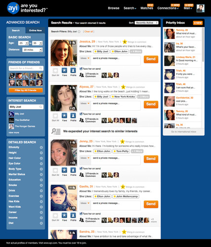 AYI Interest Search - Billy Joel. (PRNewsFoto/SNAP Interactive, Inc.) (PRNewsFoto/SNAP INTERACTIVE, INC.)