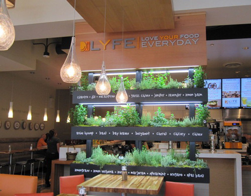 LYFE Kitchen's iconic herb wall comes to life in the Tarzana restaurant. (PRNewsFoto/LYFE Kitchen) ...