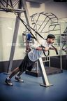 India Cricketer Harbhajan Singh during a work out session at the gym.