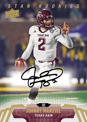 Johnny Manziel will have rare autograph rookie cards in 2014 Upper Deck Football which releases on April 16! Upper Deck is the home to the first licensed rookie cards of the year for Manziel, Bridgewater, Bortles, Sam and more!
