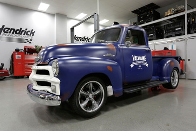 Jimmie Johnson's finished Reinvention Project truck in the garage at Hendrick Motorsports.  (PRNewsFoto/Valvoline)