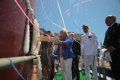 On Saturday, June 18, General Dynamics Bath Iron Works christened the U.S. Navy's newest guided-missile destroyer, Michael Monsoor (DDG 1001). The ship is named for Petty Officer 2nd Class Michael Monsoor, who was deployed to Iraq in Operation Iraqi Freedom and was killed Sept. 29, 2006, in Ar Ramadi, Iraq.