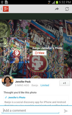 Google Chooses @Banjo app to unveil Google+ Integration.  (PRNewsFoto/Banjo)
