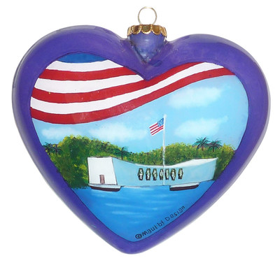 Hand-painted ornament commemorates Pearl Harbor (PRNewsFoto/Maui by Design)