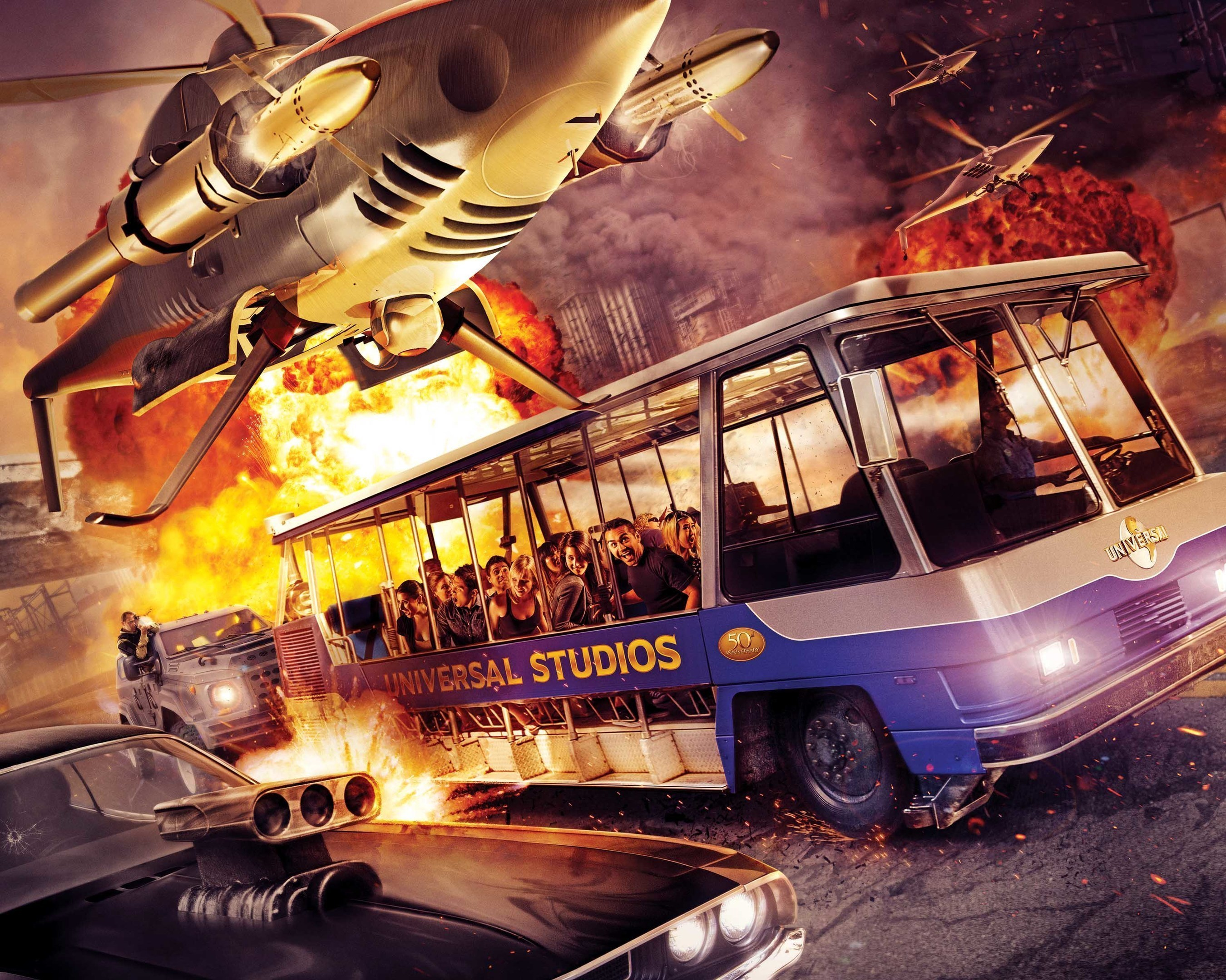 """New thrill ride """"Fast & Furious--Supercharged"""" races into Universal Studios Hollywood, opening Thursday, June 25."""